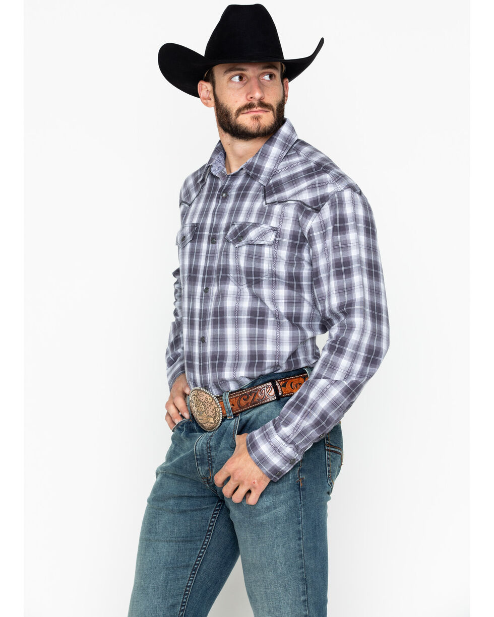 Moonshine Spirit Men's Plaid Garage Band Long Sleeve Western Shirt, Grey, hi-res