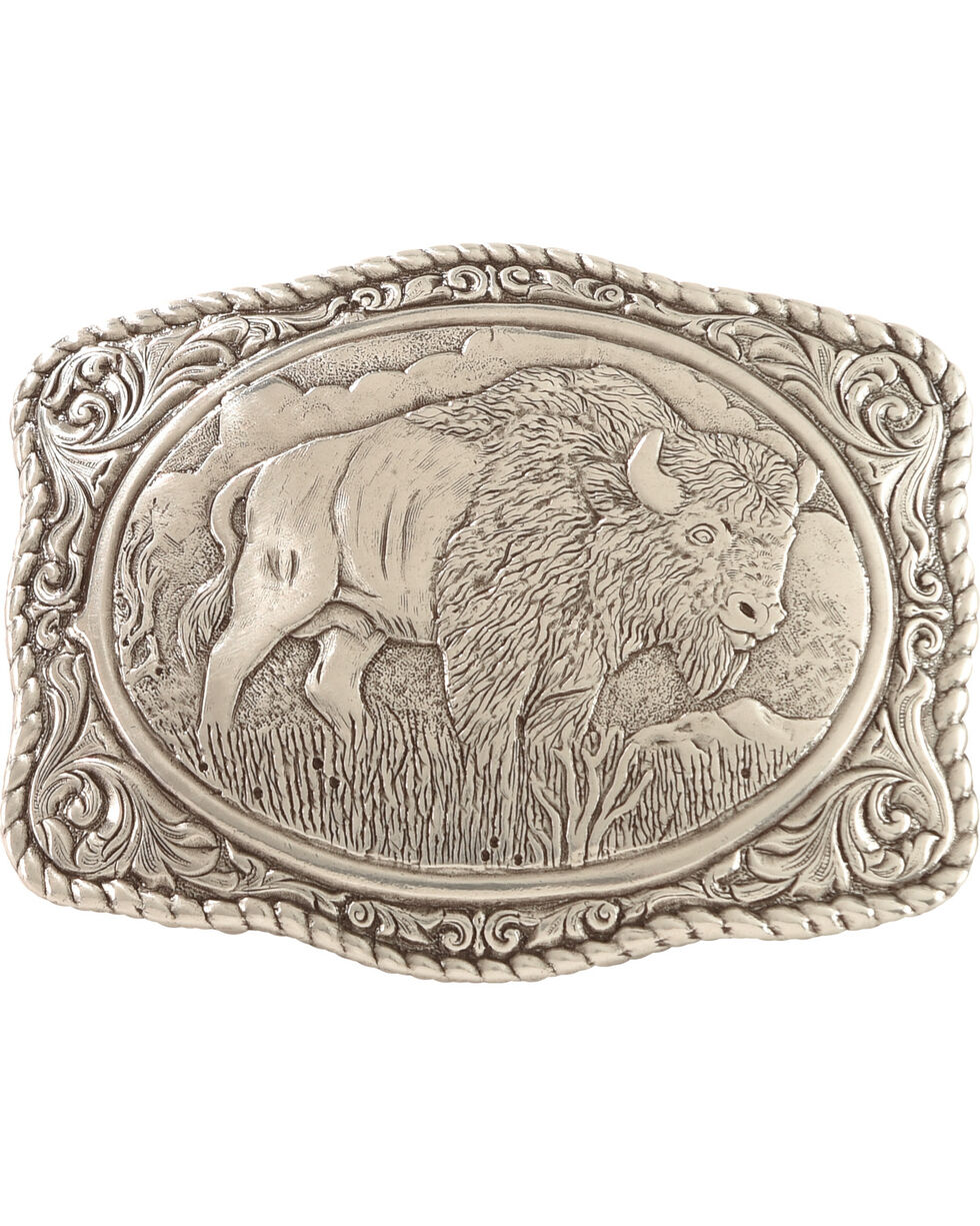 Crumrine Vintage Men's Buffalo Belt Buckle, Silver, hi-res