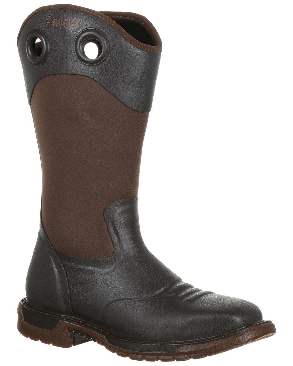 Rocky Men's Original Ride FLX Waterproof Western Work Boots - Steel Toe, Dark Brown, hi-res