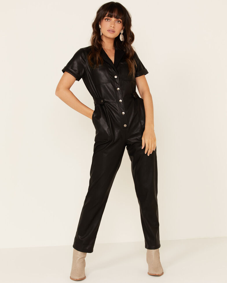 Mink Pink Women's Black Faux Leather Jumpsuit, Black, hi-res