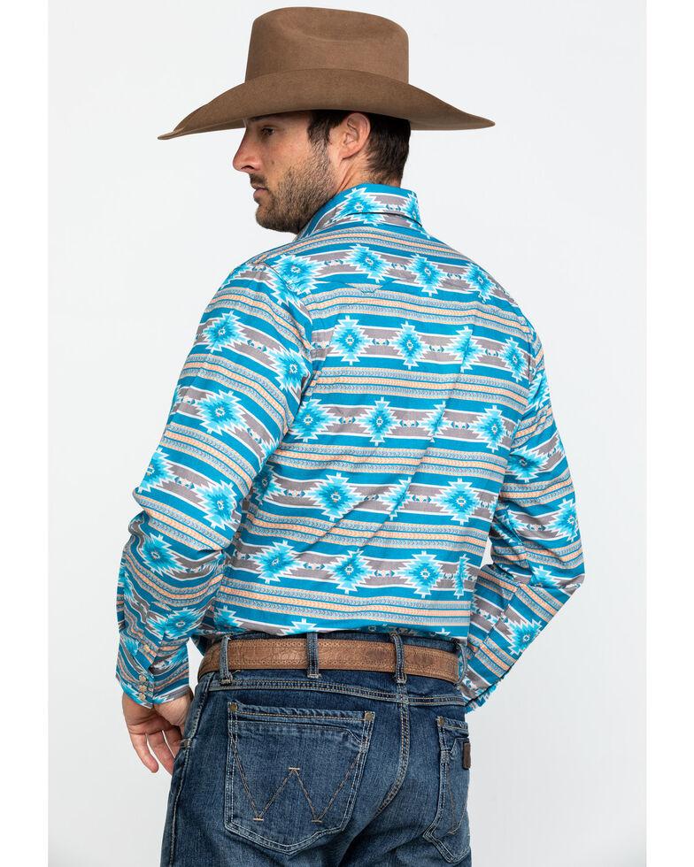 Roper Men's West Made Santa Fe Aztec Print Long Sleeve Western Shirt , Blue, hi-res