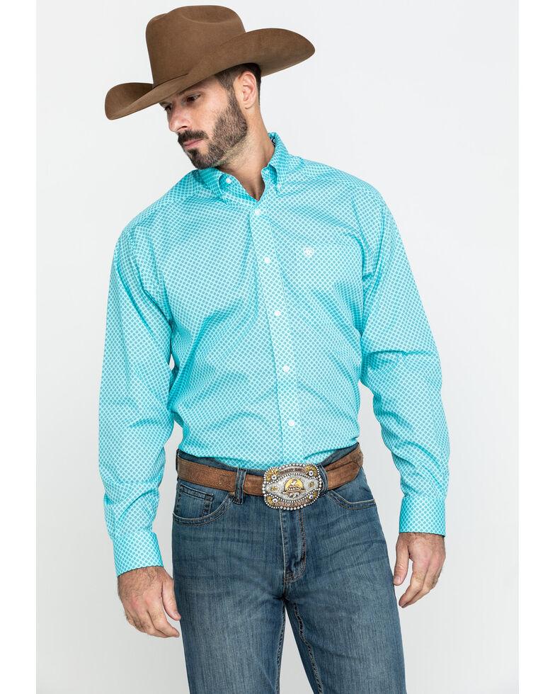 Ariat Men's Wrinkle Free Pasadena Geo Print Long Sleeve Western Shirt - Big , Turquoise, hi-res