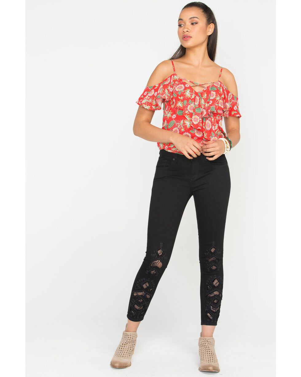 Miss Me Women's Black Lace Inlay Skinny Jeans, Black, hi-res