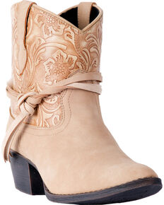 Dingo Women's Floral Tooled Knotted Strap Booties - Medium Toe, Tan, hi-res