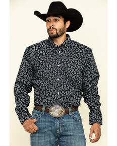 Cody James Core Men's Spurs Small Paisley Print Long Sleeve Western Shirt , Black, hi-res