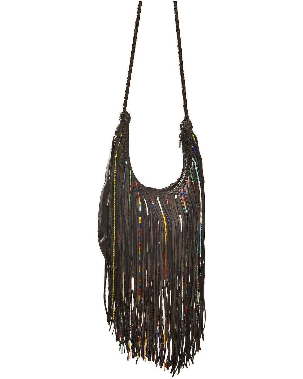 Kobler Leather Bead and Fringe Gypsy Bag , , hi-res