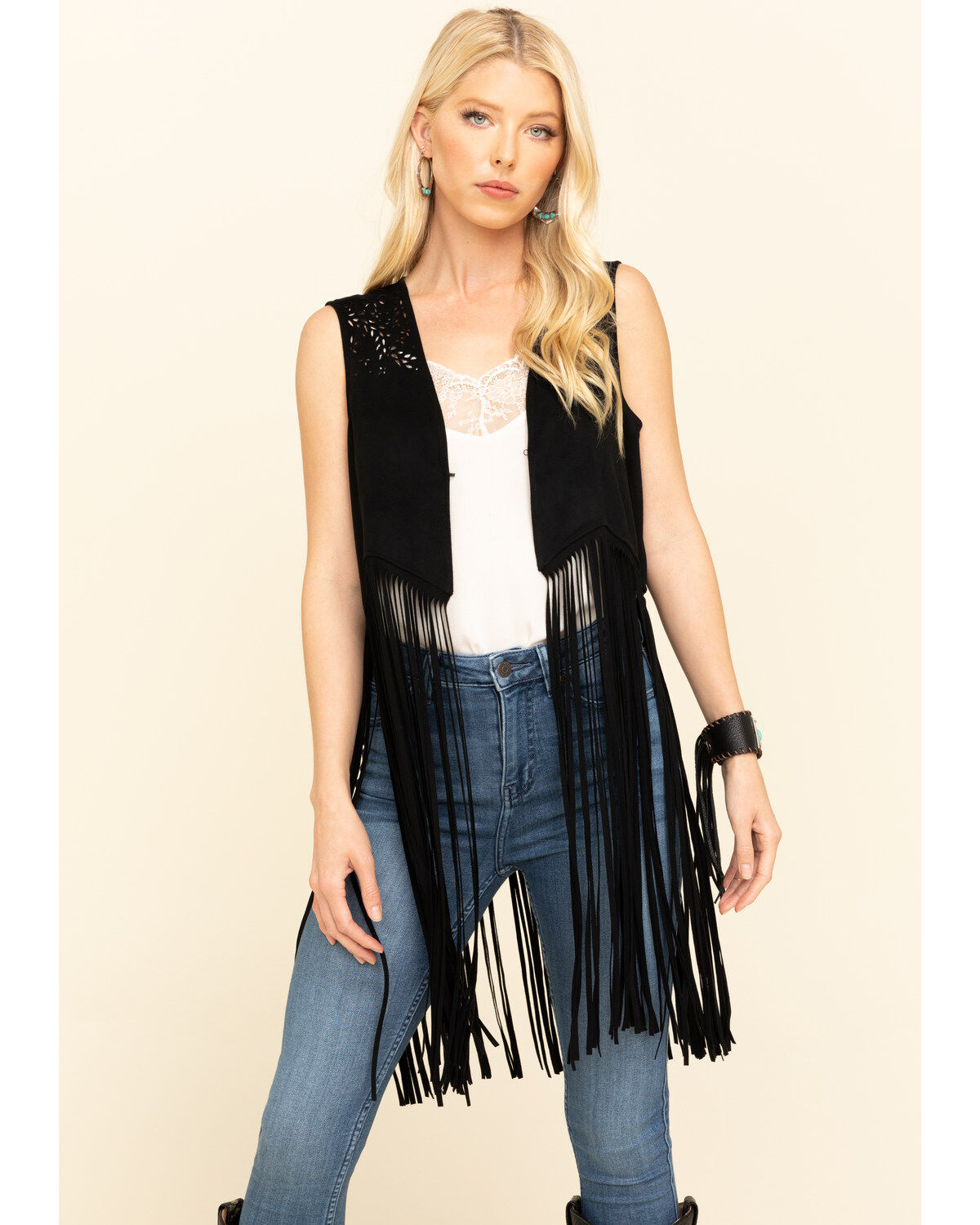 Angie Womens Faux Fur and Leather Trim Vest