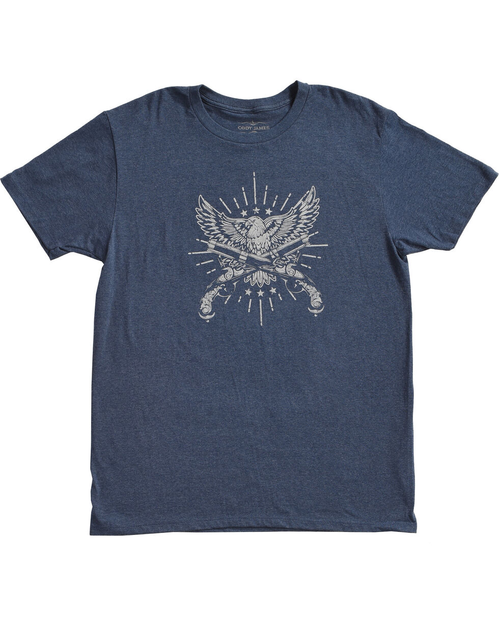 Cody James® Men's Eagle and Pistol Graphic Tee, Heather Blue, hi-res