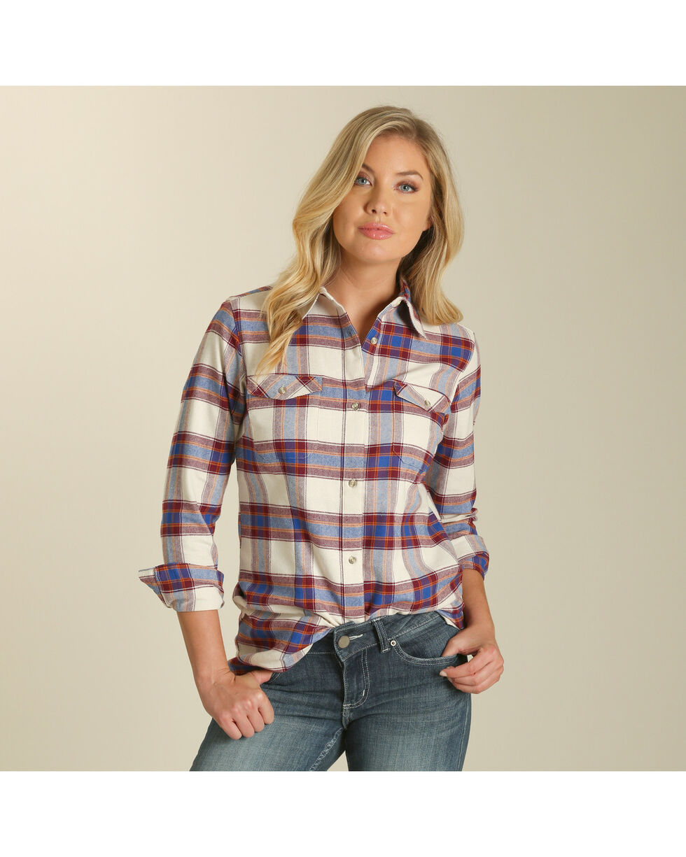 Wrangler Women's Cream Plaid Boyfriend Flannel Shirt , Cream, hi-res