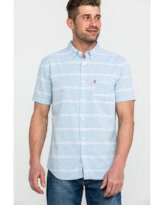 Levi's Men's Pablu Boucher Stripe Short Sleeve Western Shirt , Light Blue, hi-res