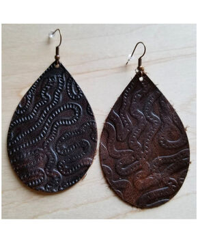 Jewelry Junkie Women's Brown Embossed Teardrop Leather Earrings, Brown, hi-res