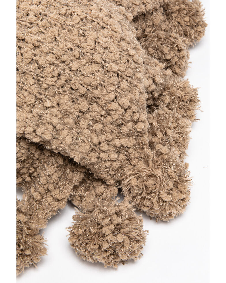 Boot Barn Ranch Chunky Taupe Knit Throw Blanket, Taupe, hi-res