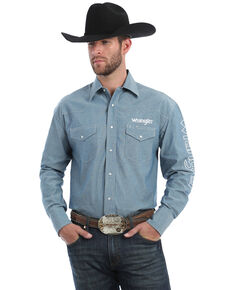 Wrangler Men's Blue Chambray Solid Logo Long Sleeve Western Shirt , Blue, hi-res
