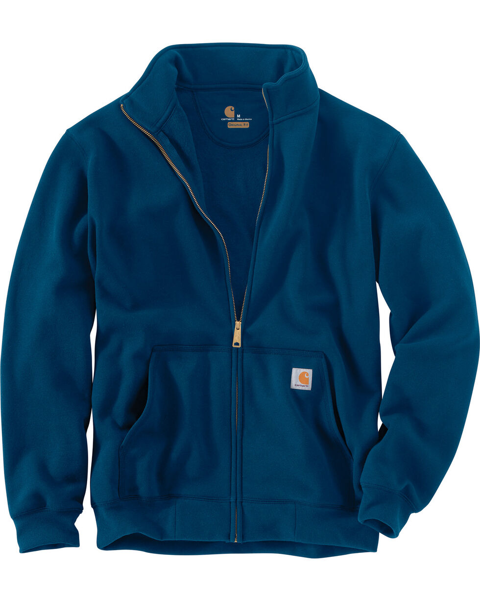 Carhartt Men's Haughton Mock Neck Zip Pullover - Big and Tall, Blue, hi-res