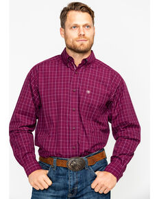 Ariat Men's Dunn Purple Dahlia Print Long Sleeve Western Shirt , Purple, hi-res