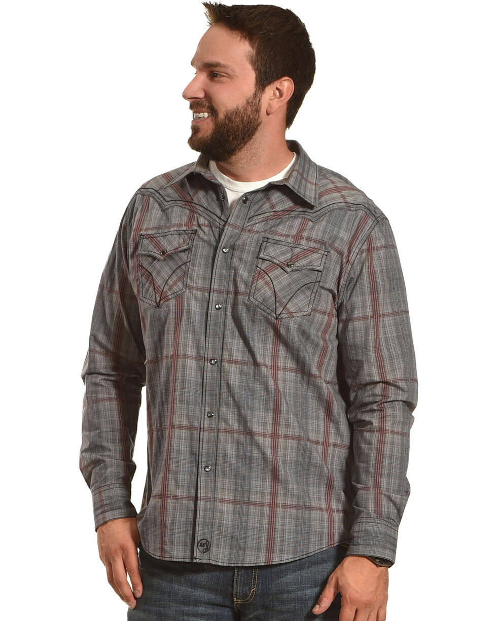 Moonshine Spirit Men's Fire Trap Plaid Long Sleeve Western Shirt, Grey, hi-res