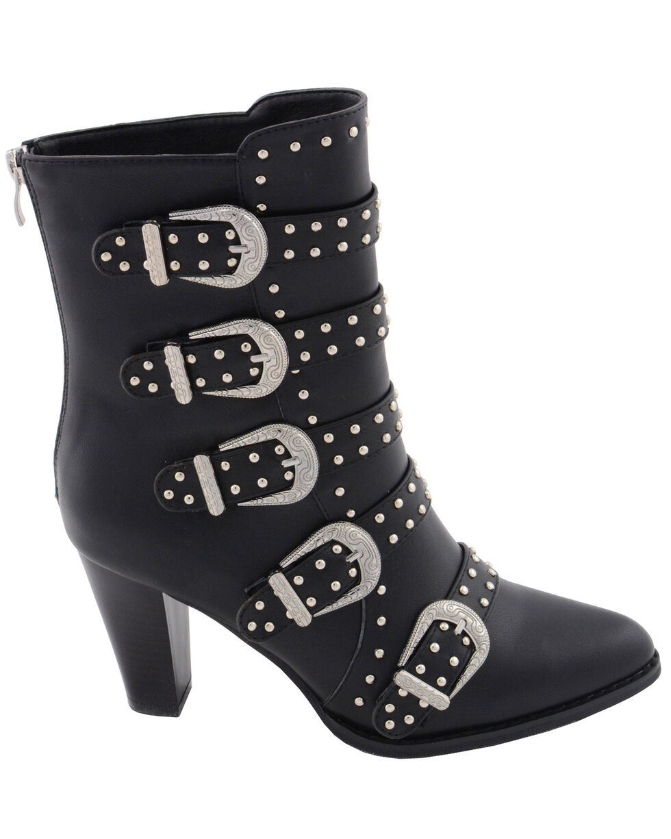 Milwaukee Leather Women's Studded Buckle Up Boots - Pointed Toe, Black, hi-res