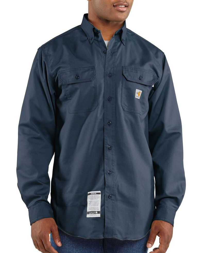 Carhartt Men's Solid FR Two-Pocket Long Sleeve Work Shirt - Big & Tall, Navy, hi-res