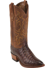 Tony Lama Men's Arlow Cognac Vintage Belly Caiman Cowboy Boots - Medium Toe , Cognac, hi-res