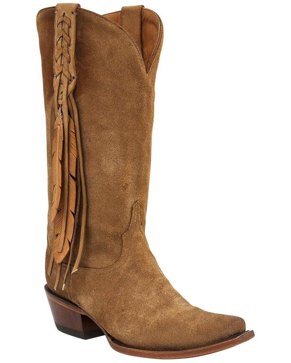 Lucchese Women's Tori Fringe Western Boots, Lt Tan, hi-res