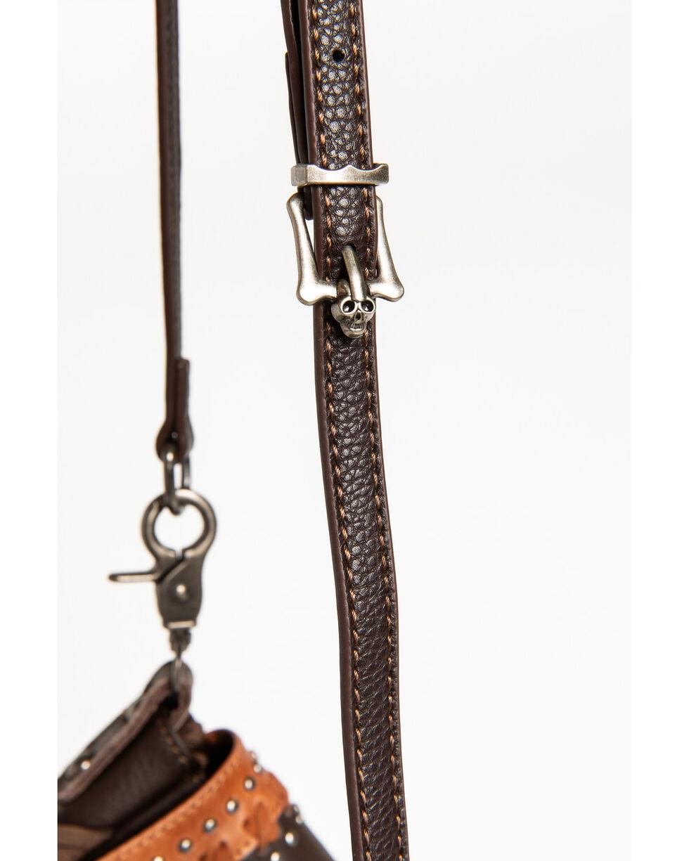 Shyanne Women's Studded Fringe Crossbody Bag, Brown, hi-res