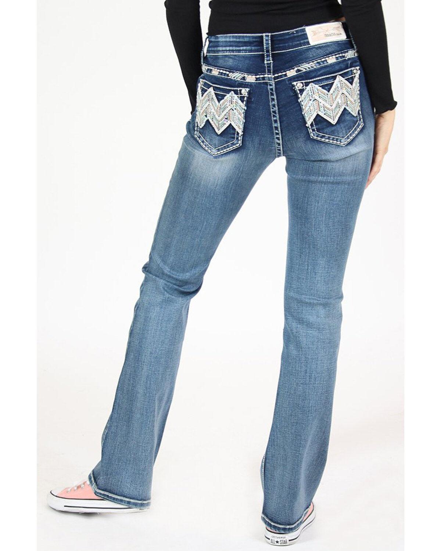 Grace in LA Womens Distressed Floral Lace Boyfriend Jeans JF-81219