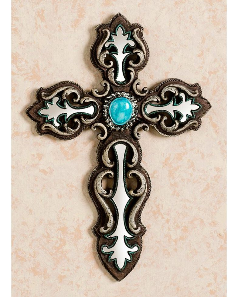 M&F Western Mirror Inlay with Faux Turquoise Stone Wall Cross, Brown, hi-res