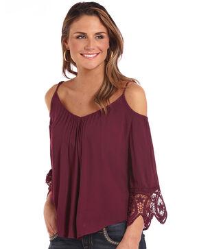 Panhandle Women's 3/4 Sleeve Cold Shoulder Lace Long Sleeve Top, Burgundy, hi-res