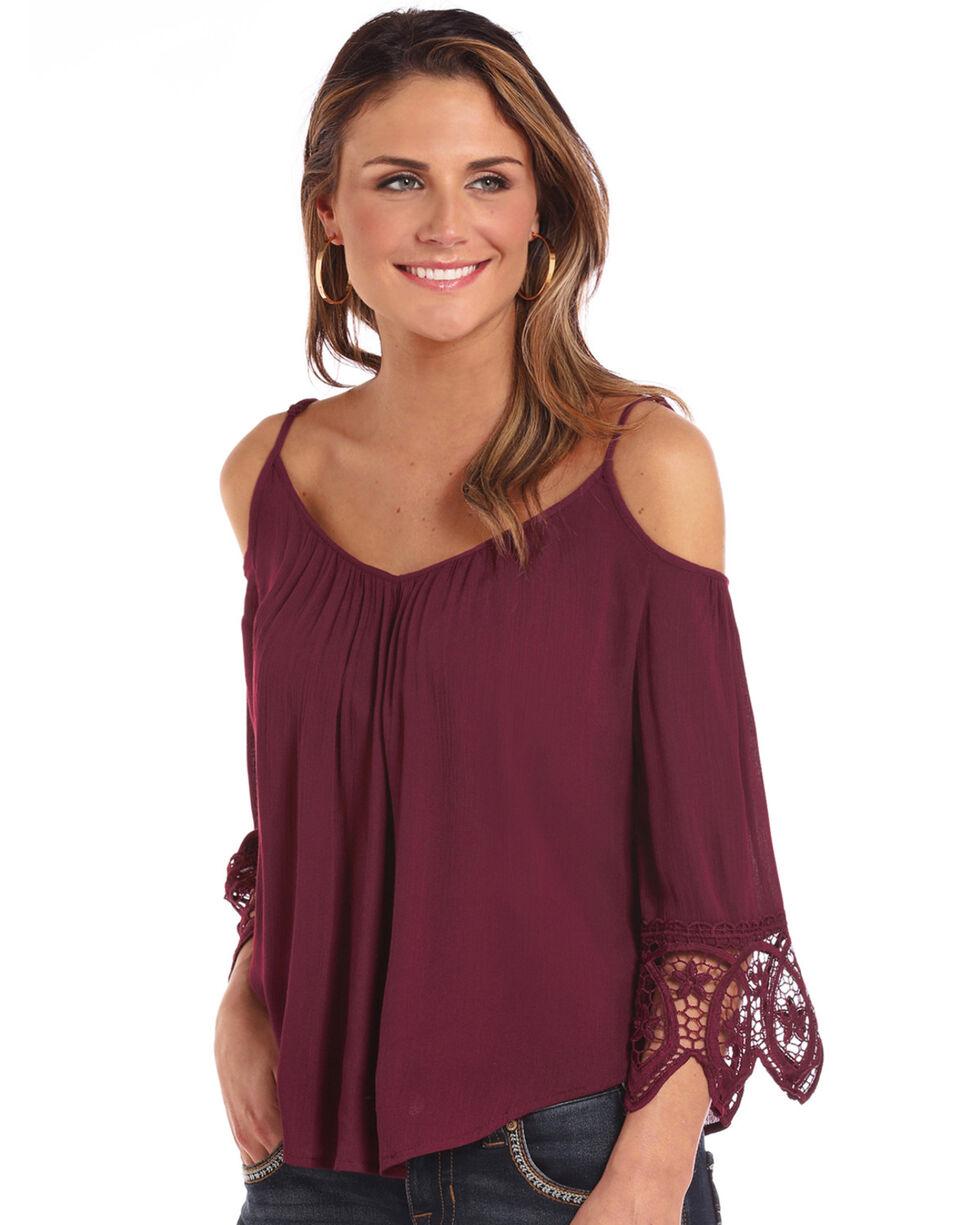 Panhandle Women's 3/4 Sleeve Cold Shoulder Lace Top, Burgundy, hi-res