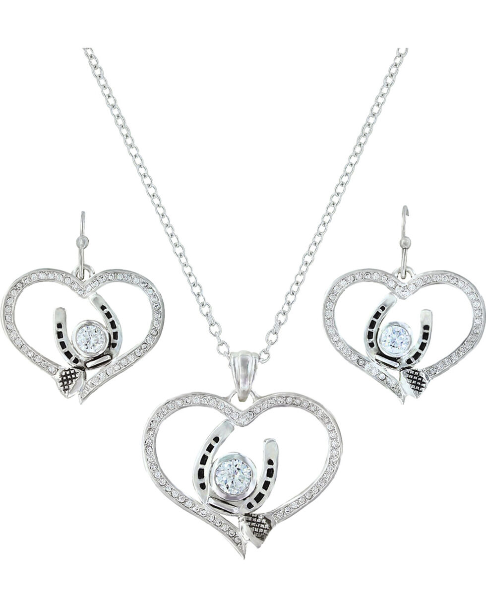 Montana Silversmiths Blacksmith's Treasure Heart Jewelry Set , Silver, hi-res