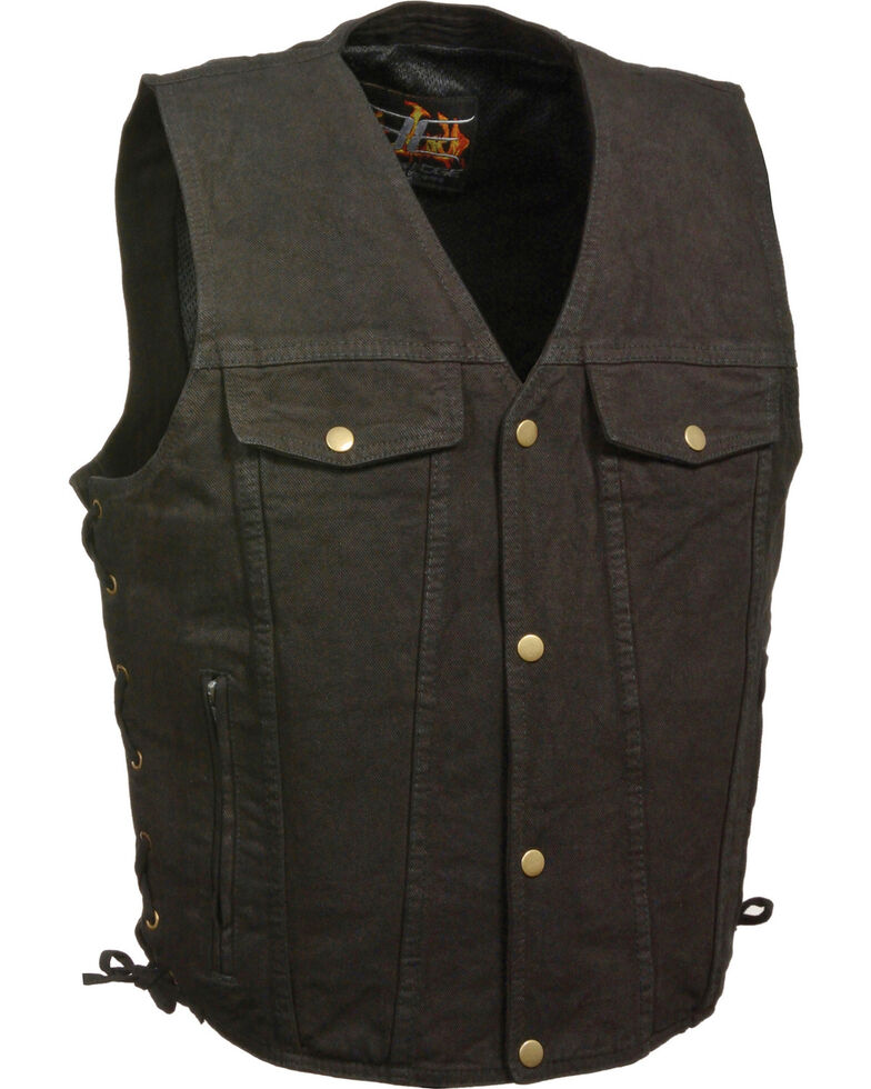 Milwaukee Leather Men's Side Lace Denim Vest w/ Chest Pockets - Big - 5X, Black, hi-res
