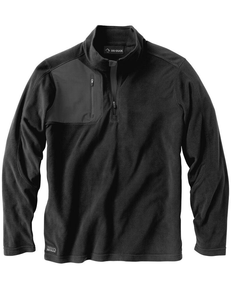 Dri Duck Men's Interval Quarter-Zip Fleece Pullover - Big, Black, hi-res