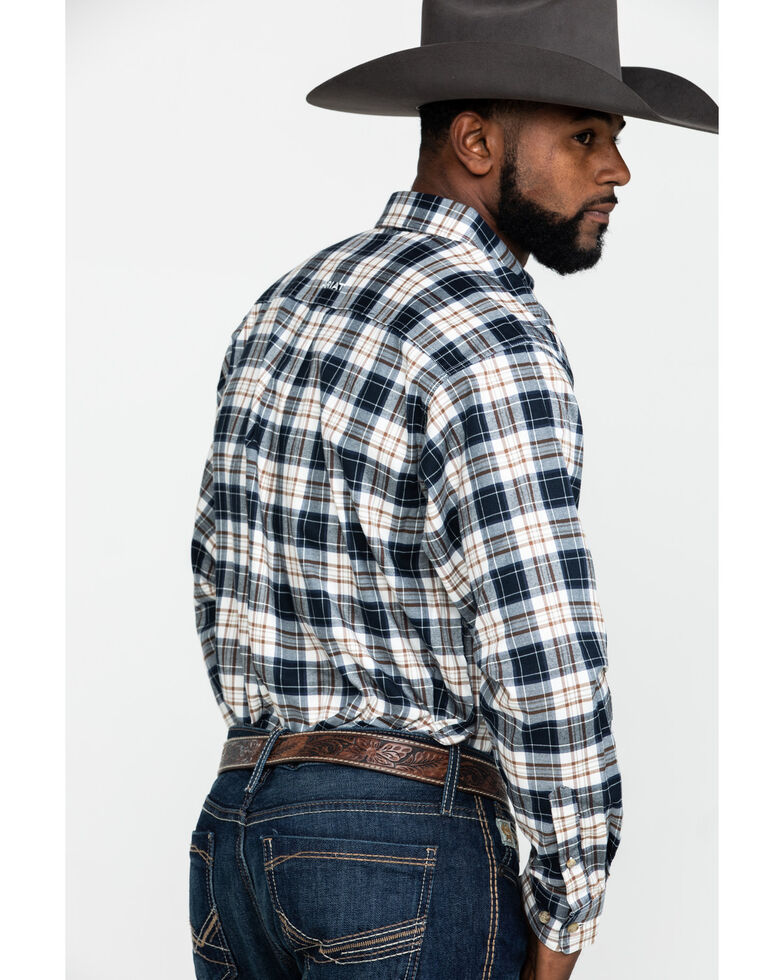 Ariat Men's Ellington Performance Flannel Long Sleeve Western Shirt , White, hi-res