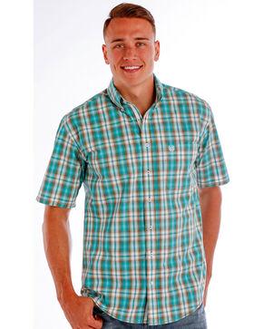 Rough Stock by Panhandle Men's Evanston Ombre Plaid Shirt - Big, Blue, hi-res