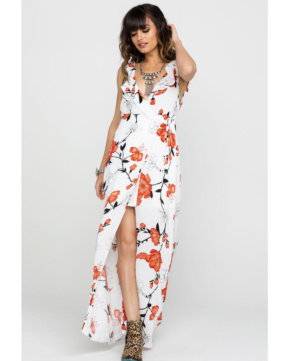 HYFVE Women's Ivory Floral Surplice Ruffle Maxi Dress , Ivory, hi-res