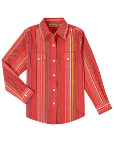 Wrangler Girls' Striped Serape Snap Long Sleeve Western Shirt , Red, hi-res