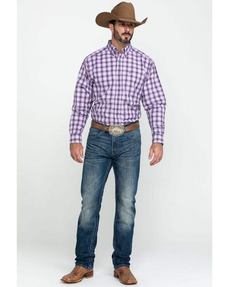 Ariat Men's Frankfort Small Plaid Long Sleeve Western Shirt - Tall , Purple, hi-res