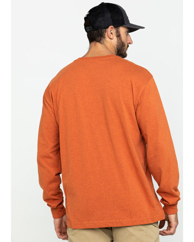 Carhartt Men's Solid Pocket Long Sleeve Work T-Shirt , Rust, hi-res