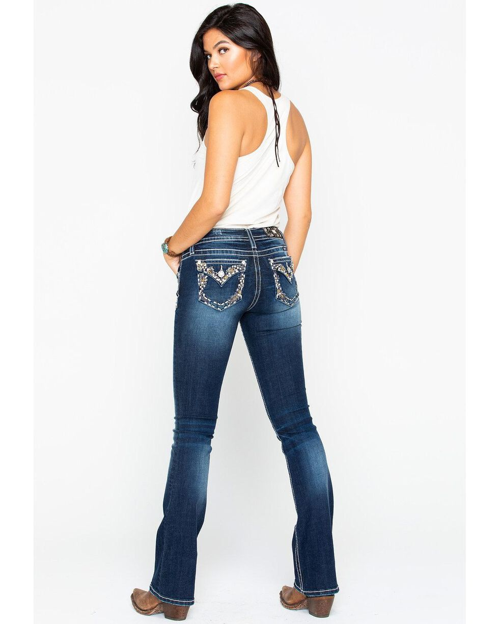 Miss Me Women's Floral Border Embroidered Pocket Boot Cut Jeans, Blue, hi-res