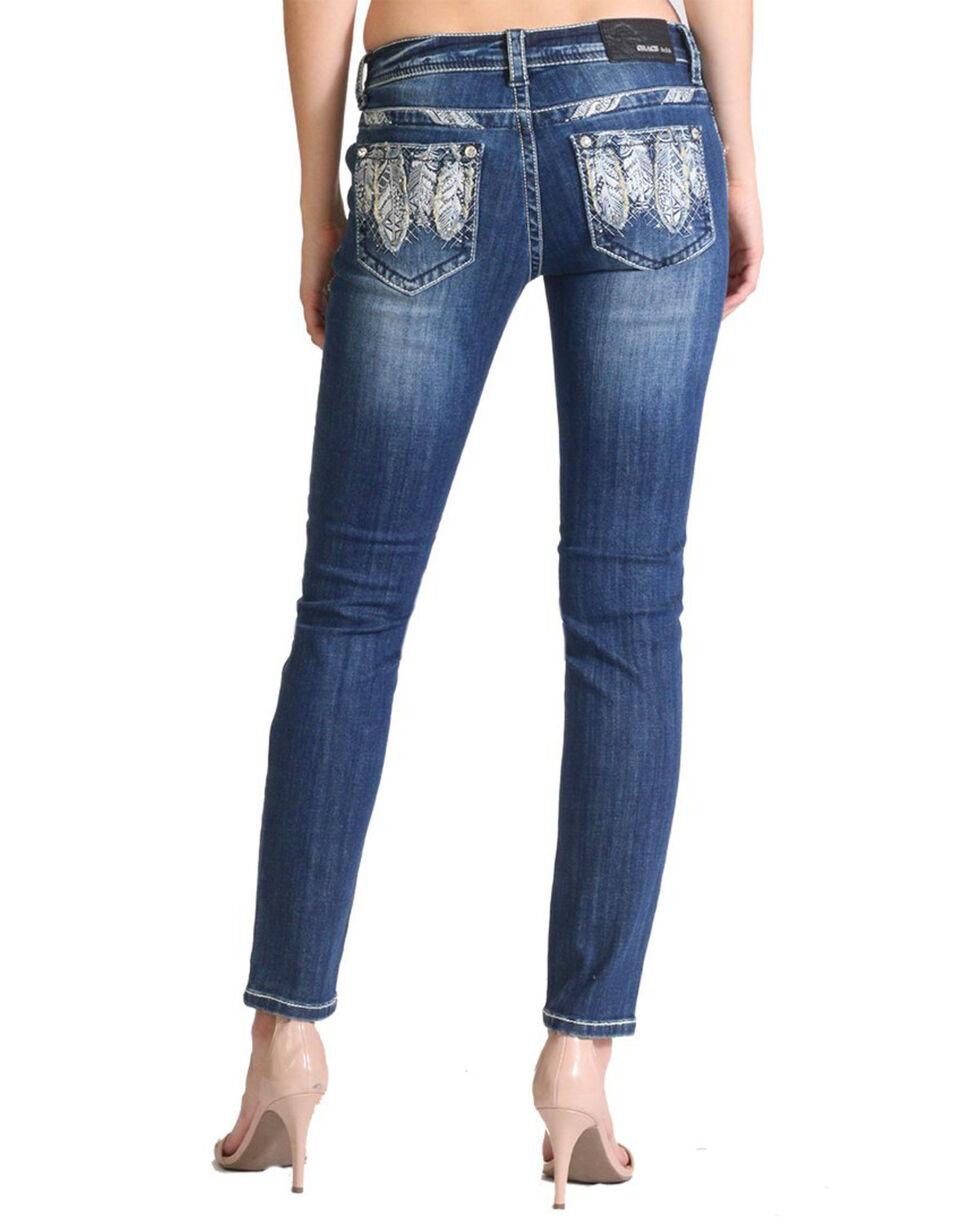 Grace In LA Women's Feather Pocket Mid Rise Skinny Jeans , Blue, hi-res