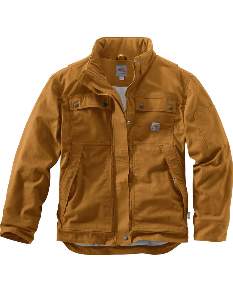 Carhartt Men's Flame-Resistant Full Swing Quick Duck Work Coat , Brown, hi-res