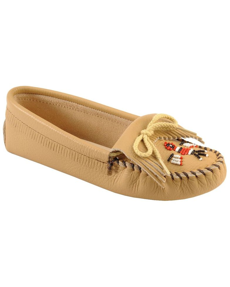 Minnetonka Beaded Thunderbird Moccasins, Natural, hi-res