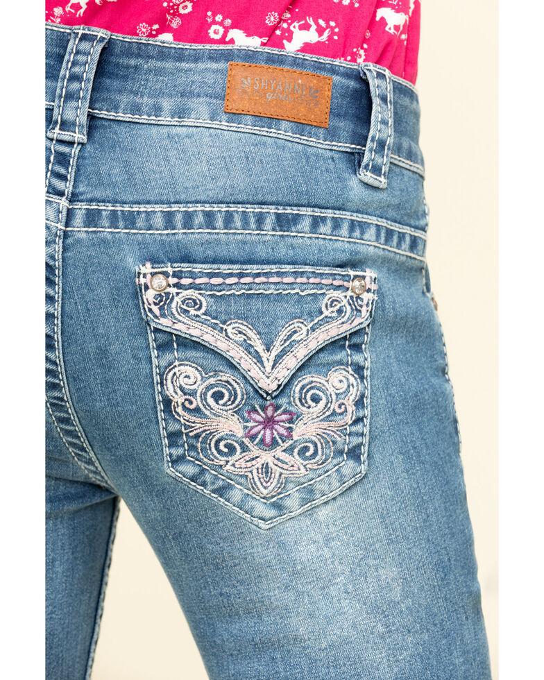 Shyanne Big Girls' Light Wash Bling Faux Flap Bootcut Jeans, Blue, hi-res