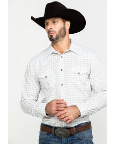 Gibson Men's Willowport Geo Print Long Sleeve Western Shirt , White, hi-res
