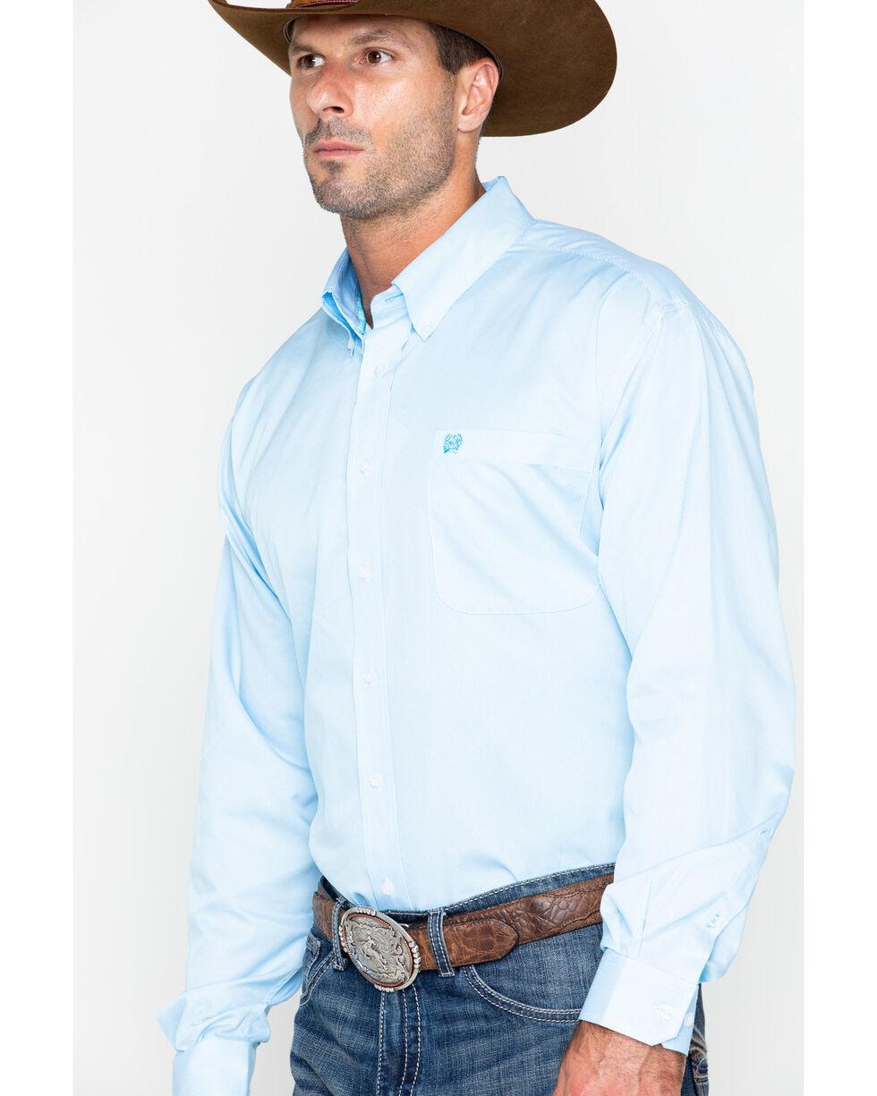 Cinch Men's Light Blue Stripe Long Sleeve Button Down Shirt, Light Blue, hi-res