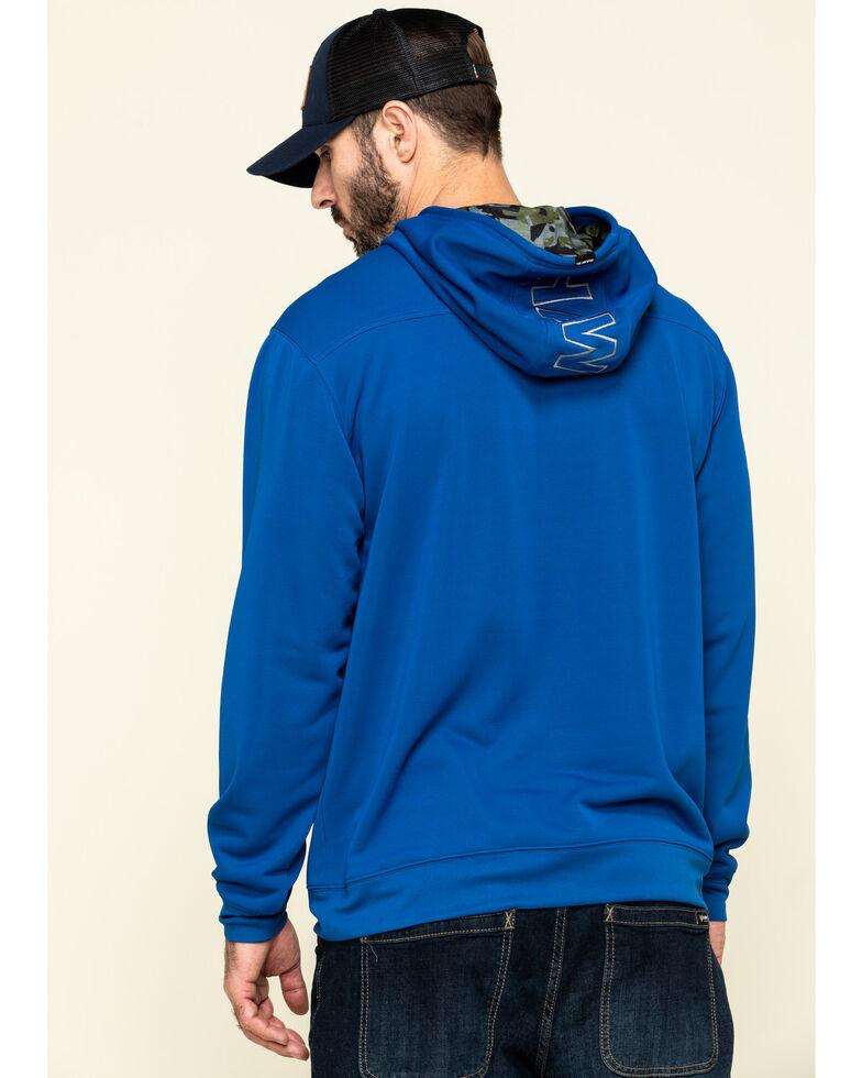 Hawx Men's Blue Tech Logo Hooded Work Sweatshirt , Blue, hi-res