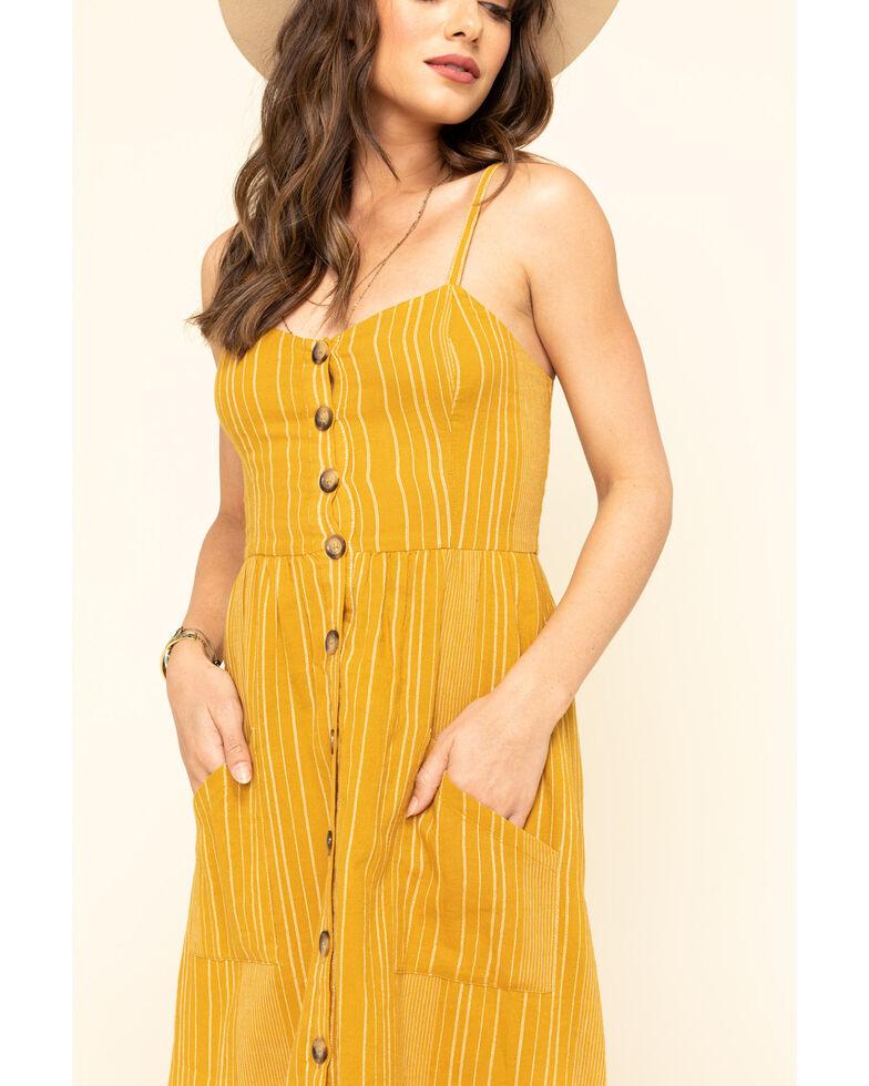 Others Follow Women's Stripe Button Front Chloe Midi Dress, Dark Yellow, hi-res