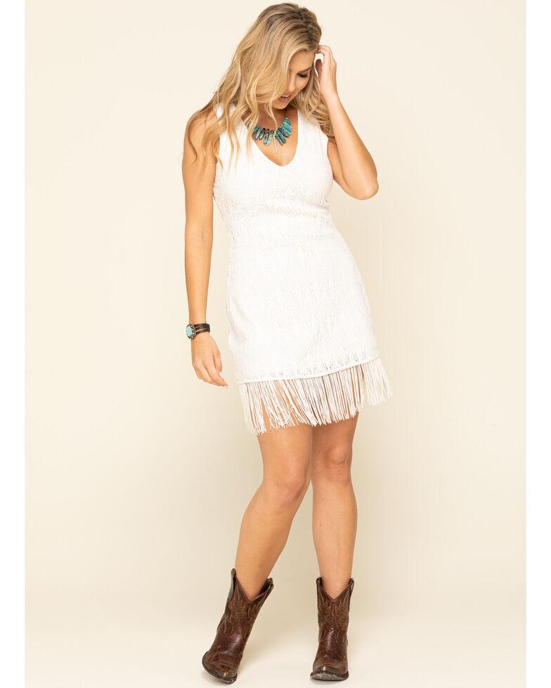 Idyllwind Women's Sing Loud Fringe Cut-Out Dress, Cream, hi-res