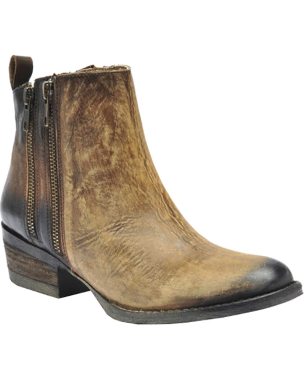 Corral Women's Burnished Double Zipper Short Western Boots, Brown, hi-res