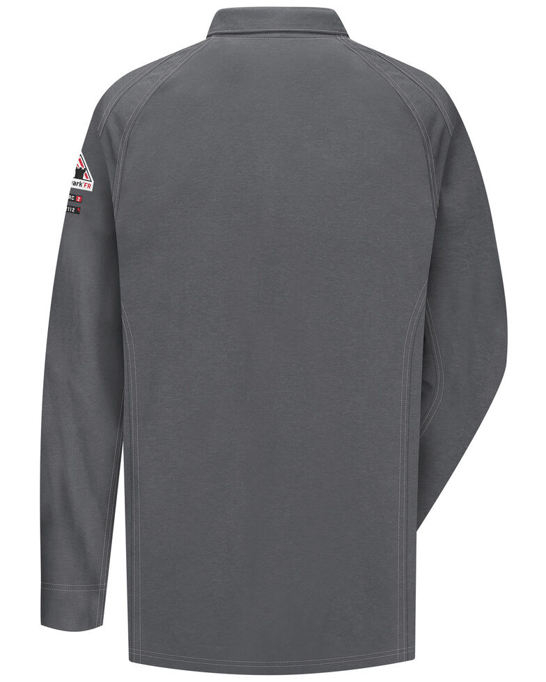 Bulwark Men's Grey iQ Series Flame Resistant Long Sleeve Polo, Charcoal Grey, hi-res
